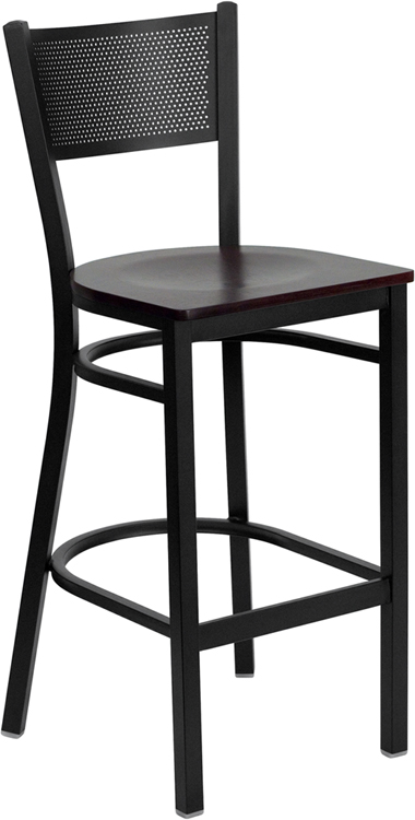 ERGONOMIC HOME TOUGH ENOUGH Series Black Grid Back Metal Restaurant Barstool - Mahogany Wood Seat
