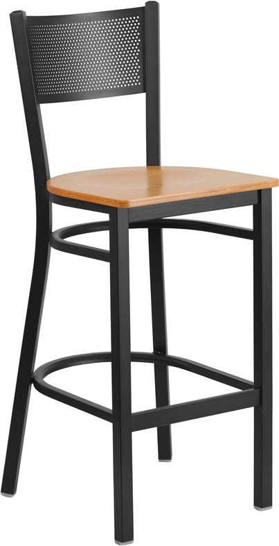 ERGONOMIC HOME TOUGH ENOUGH Series Black Grid Back Metal Restaurant Barstool - Natural Wood Seat