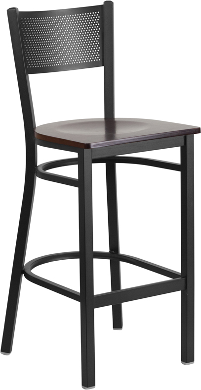 ERGONOMIC HOME TOUGH ENOUGH Series Black Grid Back Metal Restaurant Barstool - Walnut Wood Seat