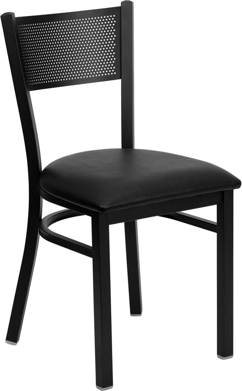 ERGONOMIC HOME TOUGH ENOUGH Series Black Grid Back Metal Restaurant Chair - Black Vinyl Seat