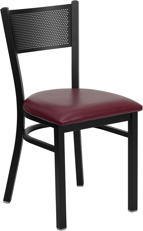 ERGONOMIC HOME TOUGH ENOUGH Series Black Grid Back Metal Restaurant Chair - Burgundy Vinyl Seat