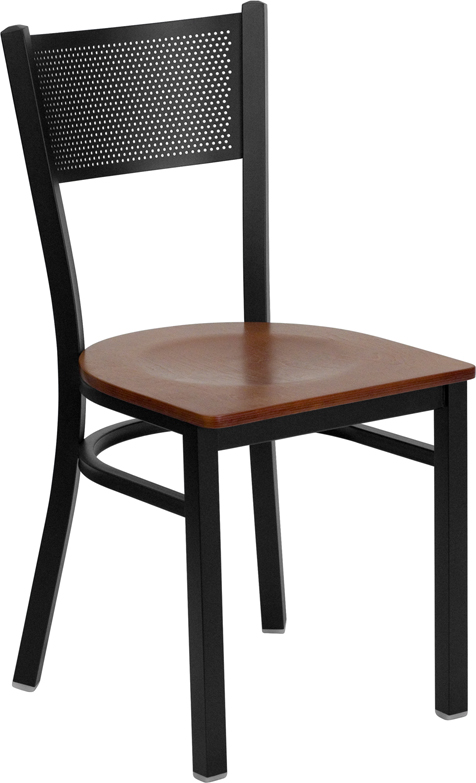 ERGONOMIC HOME TOUGH ENOUGH Series Black Grid Back Metal Restaurant Chair - Cherry Wood Seat