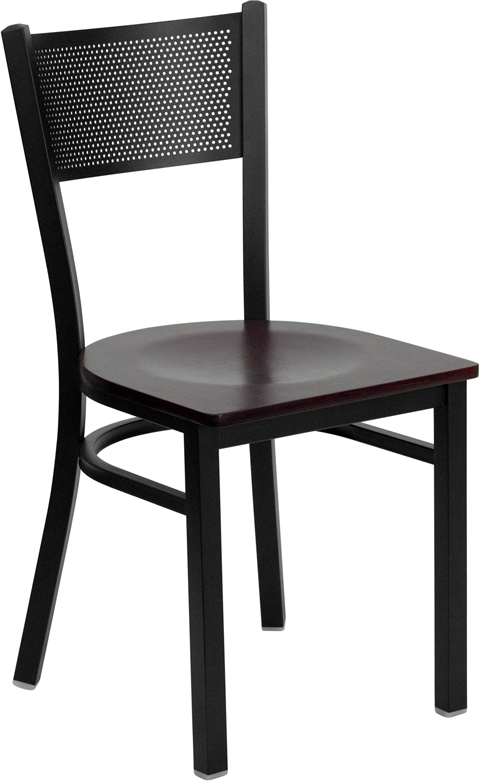 ERGONOMIC HOME TOUGH ENOUGH Series Black Grid Back Metal Restaurant Chair - Mahogany Wood Seat