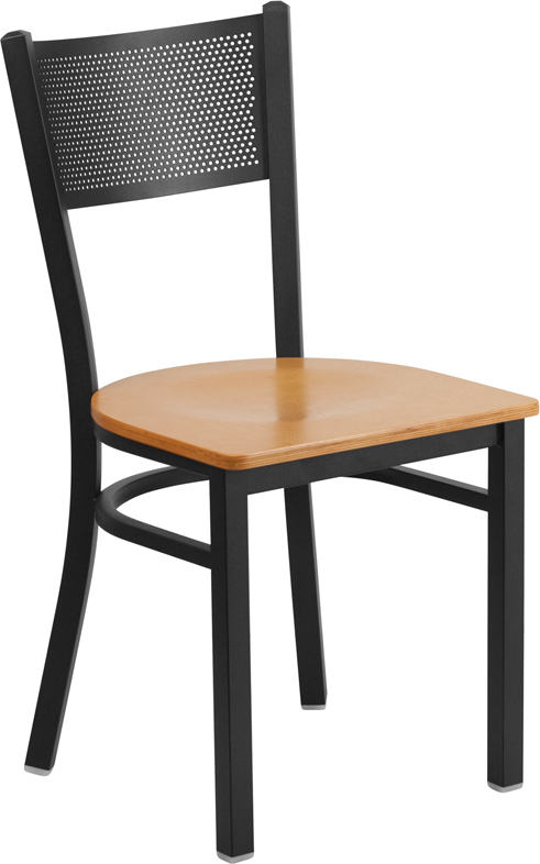 ERGONOMIC HOME TOUGH ENOUGH Series Black Grid Back Metal Restaurant Chair - Natural Wood Seat