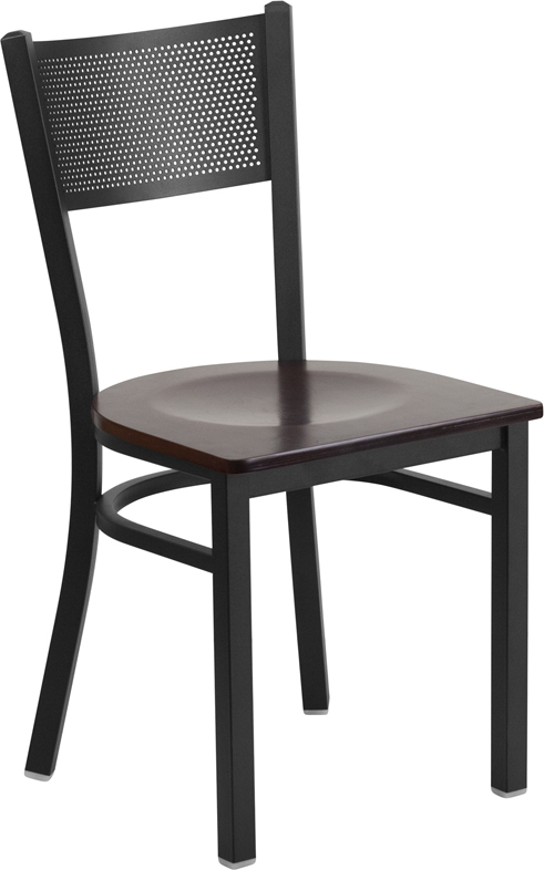 ERGONOMIC HOME TOUGH ENOUGH Series Black Grid Back Metal Restaurant Chair - Walnut Wood Seat