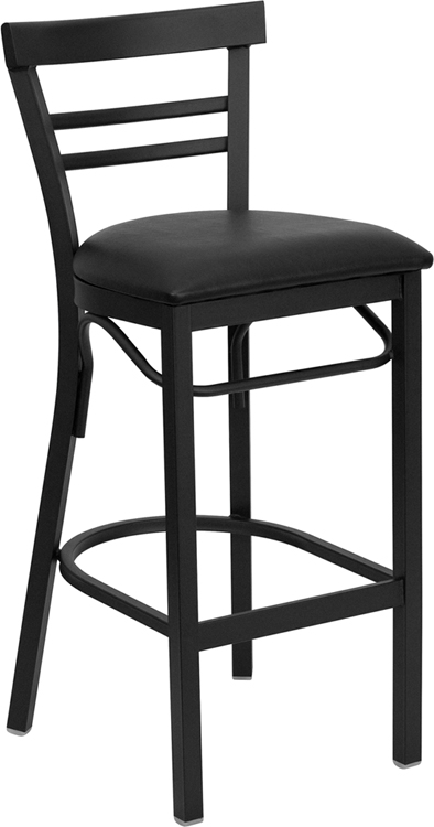 ERGONOMIC HOME TOUGH ENOUGH Series Black Ladder Back Metal Restaurant Barstool - Black Vinyl Seat <b><font color=green>50% Off Read More Below...</font></b>