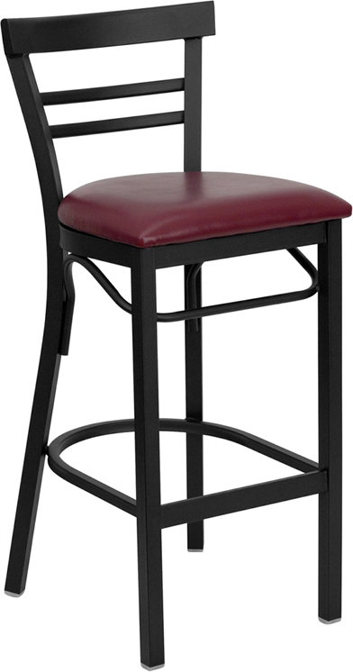 ERGONOMIC HOME TOUGH ENOUGH Series Black Ladder Back Metal Restaurant Barstool - Burgundy Vinyl Seat <b><font color=green>50% Off Read More Below...</font></b>