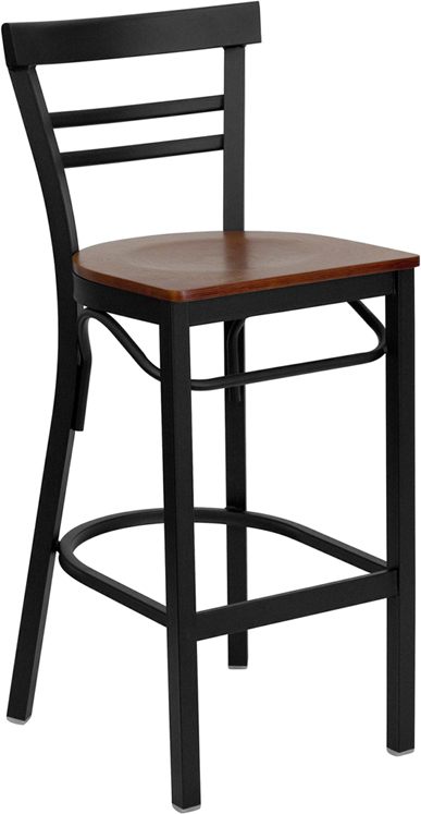 ERGONOMIC HOME TOUGH ENOUGH Series Black Ladder Back Metal Restaurant Barstool - Cherry Wood Seat <b><font color=green>50% Off Read More Below...</font></b>