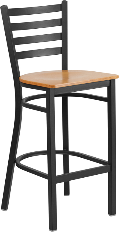 ERGONOMIC HOME TOUGH ENOUGH Series Black Ladder Back Metal Restaurant Barstool - Natural Wood Seat <b><font color=green>50% Off Read More Below...</font></b>