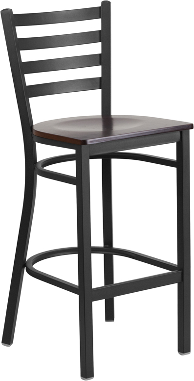 ERGONOMIC HOME TOUGH ENOUGH Series Black Ladder Back Metal Restaurant Barstool - Walnut Wood Seat <b><font color=green>50% Off Read More Below...</font></b>