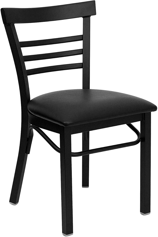 ERGONOMIC HOME TOUGH ENOUGH Series Black Ladder Back Metal Restaurant Chair - Black Vinyl Seat <b><font color=green>50% Off Read More Below...</font></b>