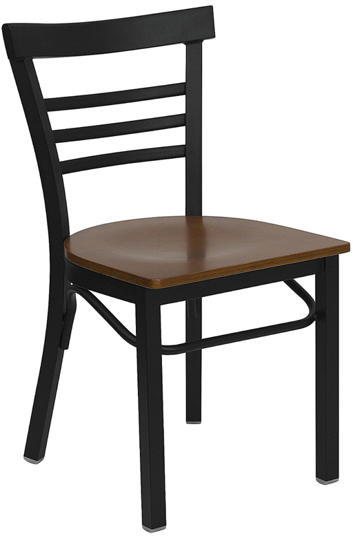 ERGONOMIC HOME TOUGH ENOUGH Series Black Ladder Back Metal Restaurant Chair    Cherry Wood Seat U003c