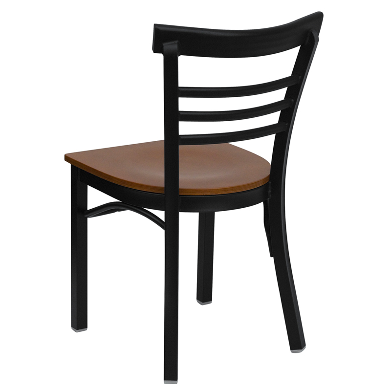 ERGONOMIC HOME TOUGH ENOUGH Series Black Ladder Back Metal Restaurant Chair    Cherry Wood Seat