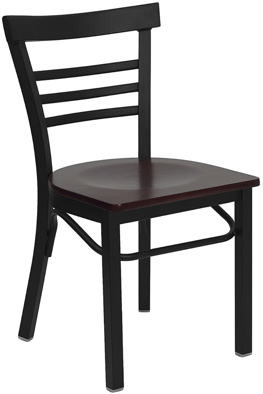 ERGONOMIC HOME TOUGH ENOUGH Series Black Ladder Back Metal Restaurant Chair - Mahogany Wood Seat <b><font color=green>50% Off Read More Below...</font></b>