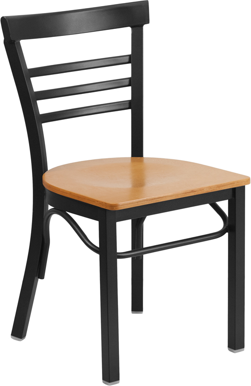 ERGONOMIC HOME TOUGH ENOUGH Series Black Ladder Back Metal Restaurant Chair - Natural Wood Seat <b><font color=green>50% Off Read More Below...</font></b>