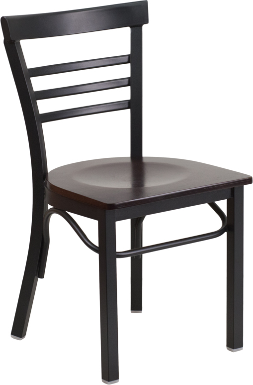 ERGONOMIC HOME TOUGH ENOUGH Series Black Ladder Back Metal Restaurant Chair - Walnut Wood Seat <b><font color=green>50% Off Read More Below...</font></b>