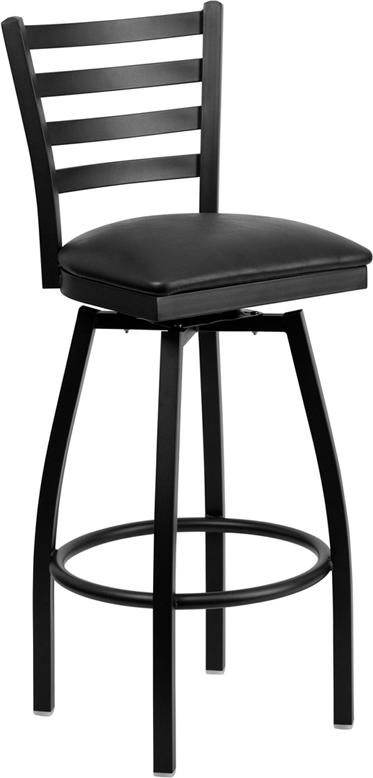 ERGONOMIC HOME TOUGH ENOUGH  Series Black Ladder Back Swivel Metal Barstool - Black Vinyl Seat