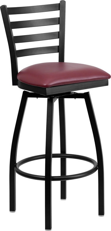 ERGONOMIC HOME TOUGH ENOUGH  Series Black Ladder Back Swivel Metal Barstool - Burgundy Vinyl Seat