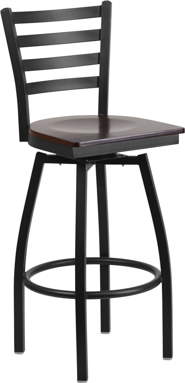 ERGONOMIC HOME TOUGH ENOUGH  Series Black Ladder Back Swivel Metal Barstool - Walnut Wood Seat