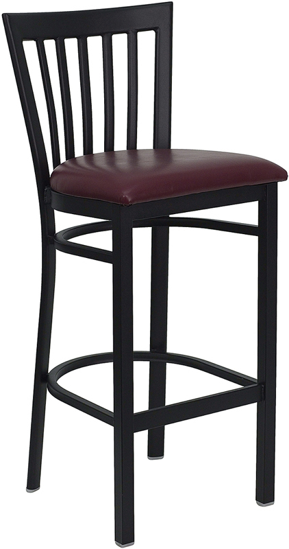 ERGONOMIC HOME TOUGH ENOUGH Series Black School House Back Metal Restaurant Barstool - Burgundy Vinyl Seat <b><font color=green>50% Off Read More Below...</font></b>