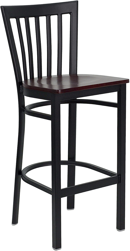 ERGONOMIC HOME TOUGH ENOUGH Series Black School House Back Metal Restaurant Barstool - Mahogany Wood Seat <b><font color=green>50% Off Read More Below...</font></b>