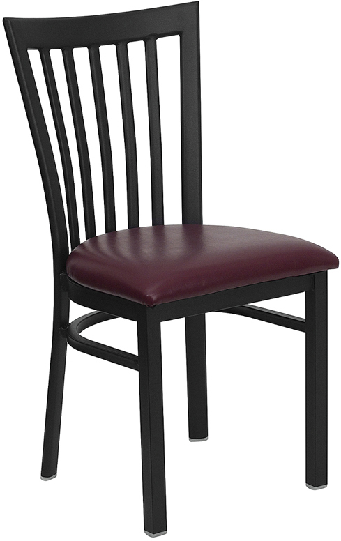 ERGONOMIC HOME TOUGH ENOUGH Series Black School House Back Metal Restaurant Chair - Burgundy Vinyl Seat <b><font color=green>50% Off Read More Below...</font></b>