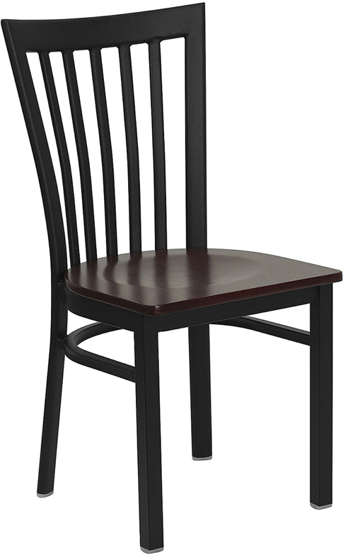 ERGONOMIC HOME TOUGH ENOUGH Series Black School House Back Metal Restaurant Chair - Mahogany Wood Seat <b><font color=green>50% Off Read More Below...</font></b>