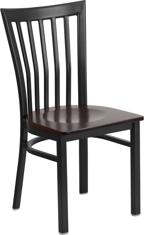 ERGONOMIC HOME TOUGH ENOUGH Series Black School House Back Metal Restaurant Chair - Walnut Wood Seat <b><font color=green>50% Off Read More Below...</font></b>