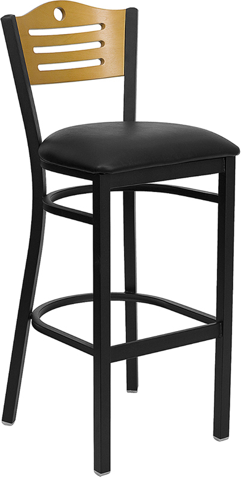 ERGONOMIC HOME TOUGH ENOUGH Series Black Slat Back Metal Restaurant Barstool - Natural Wood Back, Black Vinyl Seat <b><font color=green>50% Off Read More Below...</font></b>