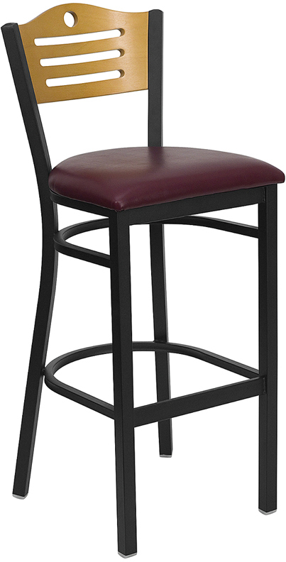 ERGONOMIC HOME TOUGH ENOUGH Series Black Slat Back Metal Restaurant Barstool - Natural Wood Back, Burgundy Vinyl Seat <b><font color=green>50% Off Read More Below...</font></b>