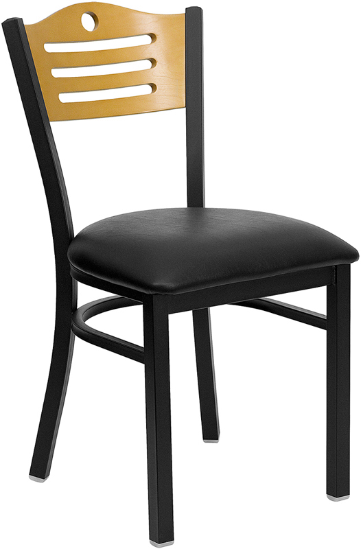 ERGONOMIC HOME TOUGH ENOUGH Series Black Slat Back Metal Restaurant Chair - Natural Wood Back, Black Vinyl Seat <b><font color=green>50% Off Read More Below...</font></b>