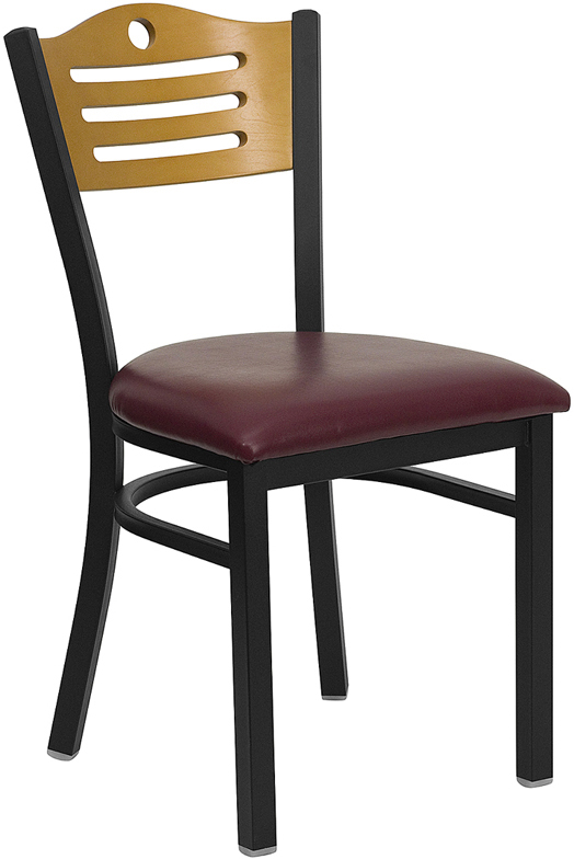 ERGONOMIC HOME TOUGH ENOUGH Series Black Slat Back Metal Restaurant Chair - Natural Wood Back, Burgundy Vinyl Seat <b><font color=green>50% Off Read More Below...</font></b>