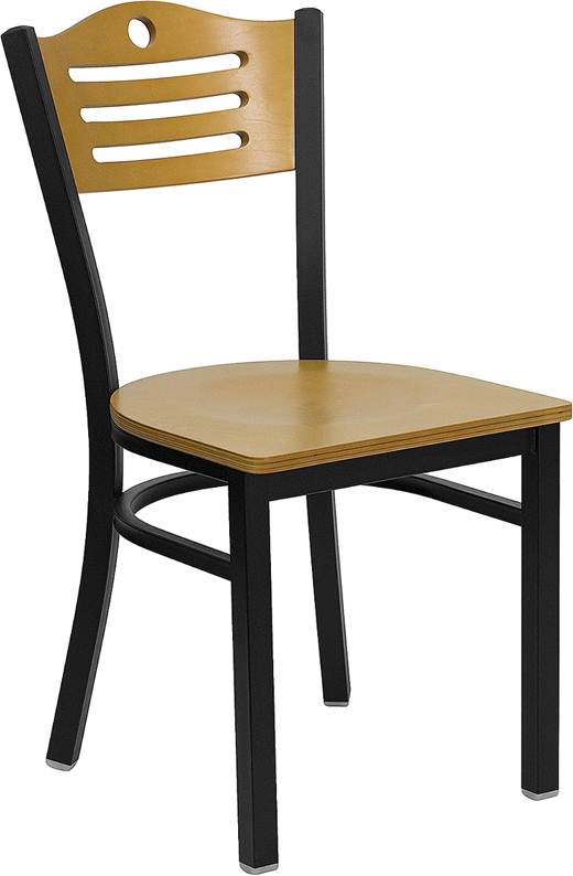 ERGONOMIC HOME TOUGH ENOUGH Series Black Slat Back Metal Restaurant Chair    Natural Wood Back U0026