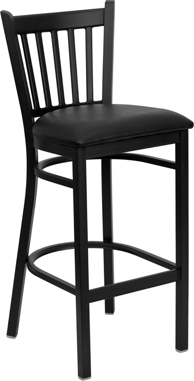 ERGONOMIC HOME TOUGH ENOUGH Series Black Vertical Back Metal Restaurant Barstool - Black Vinyl Seat <b><font color=green>50% Off Read More Below...</font></b>