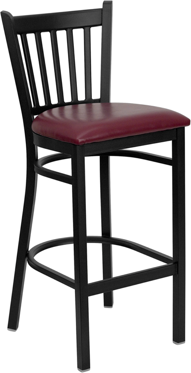 ERGONOMIC HOME TOUGH ENOUGH Series Black Vertical Back Metal Restaurant Barstool - Burgundy Vinyl Seat <b><font color=green>50% Off Read More Below...</font></b>