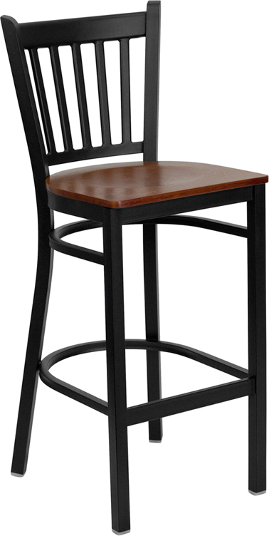 ERGONOMIC HOME TOUGH ENOUGH Series Black Vertical Back Metal Restaurant Barstool - Cherry Wood Seat <b><font color=green>50% Off Read More Below...</font></b>