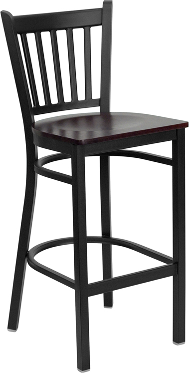 ERGONOMIC HOME TOUGH ENOUGH Series Black Vertical Back Metal Restaurant Barstool - Mahogany Wood Seat <b><font color=green>50% Off Read More Below...</font></b>