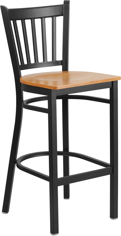 ERGONOMIC HOME TOUGH ENOUGH Series Black Vertical Back Metal Restaurant Barstool - Natural Wood Seat <b><font color=green>50% Off Read More Below...</font></b>