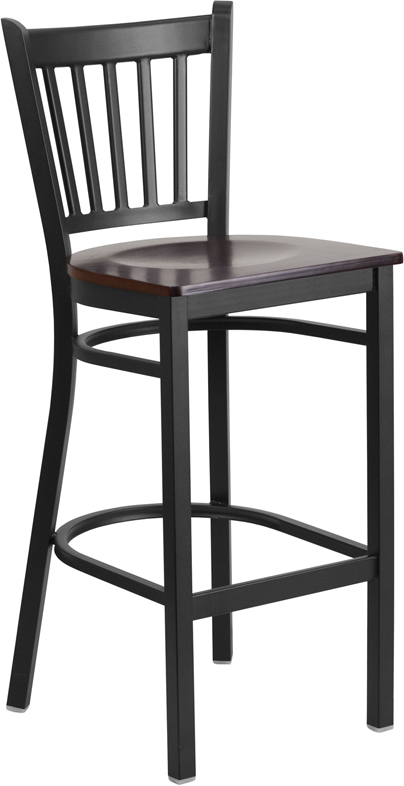 ERGONOMIC HOME TOUGH ENOUGH Series Black Vertical Back Metal Restaurant Barstool - Walnut Wood Seat <b><font color=green>50% Off Read More Below...</font></b>