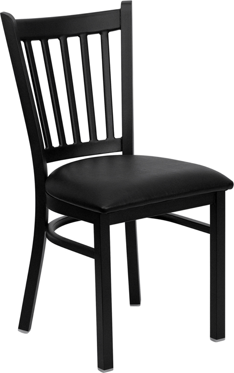 ERGONOMIC HOME TOUGH ENOUGH Series Black Vertical Back Metal Restaurant Chair - Black Vinyl Seat <b><font color=green>50% Off Read More Below...</font></b>