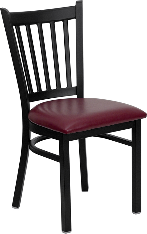 ERGONOMIC HOME TOUGH ENOUGH Series Black Vertical Back Metal Restaurant Chair - Burgundy Vinyl Seat <b><font color=green>50% Off Read More Below...</font></b>