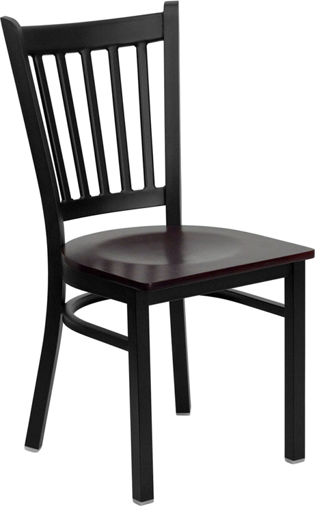 ERGONOMIC HOME TOUGH ENOUGH Series Black Vertical Back Metal Restaurant Chair - Mahogany Wood Seat <b><font color=green>50% Off Read More Below...</font></b>