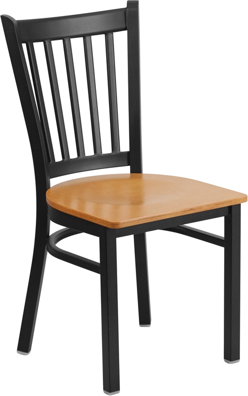 ERGONOMIC HOME TOUGH ENOUGH Series Black Vertical Back Metal Restaurant Chair - Natural Wood Seat <b><font color=green>50% Off Read More Below...</font></b>