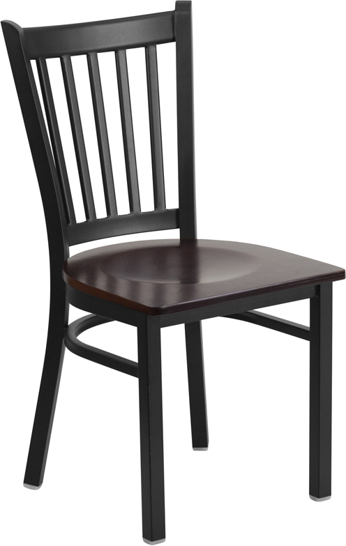 ERGONOMIC HOME TOUGH ENOUGH Series Black Vertical Back Metal Restaurant Chair - Walnut Wood Seat <b><font color=green>50% Off Read More Below...</font></b>