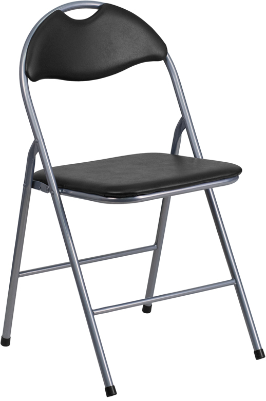 </b></font>ERGONOMIC HOME TOUGH ENOUGH Series Black Vinyl Metal Folding Chair with Carrying Handle <b></font>. </b></font></b>