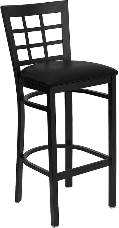 ERGONOMIC HOME TOUGH ENOUGH Series Black Window Back Metal Restaurant Barstool - Black Vinyl Seat <b><font color=green>50% Off Read More Below...</font></b>