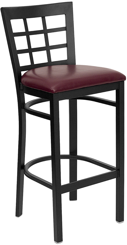 ERGONOMIC HOME TOUGH ENOUGH Series Black Window Back Metal Restaurant Barstool - Burgundy Vinyl Seat <b><font color=green>50% Off Read More Below...</font></b>