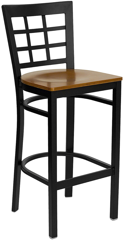 ERGONOMIC HOME TOUGH ENOUGH Series Black Window Back Metal Restaurant Barstool - Cherry Wood Seat <b><font color=green>50% Off Read More Below...</font></b>