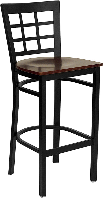 ERGONOMIC HOME TOUGH ENOUGH Series Black Window Back Metal Restaurant Barstool - Mahogany Wood Seat <b><font color=green>50% Off Read More Below...</font></b>