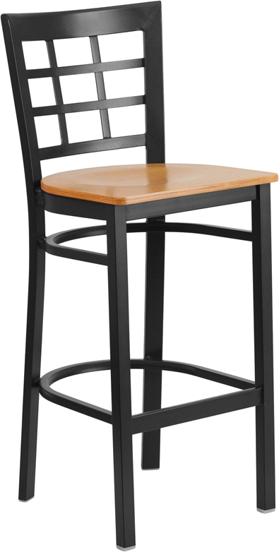 ERGONOMIC HOME TOUGH ENOUGH Series Black Window Back Metal Restaurant Barstool - Natural Wood Seat <b><font color=green>50% Off Read More Below...</font></b>